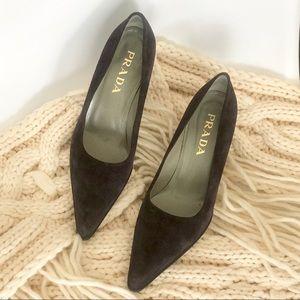 Prada Suede Low Pumps Pointed Toe Block Heels